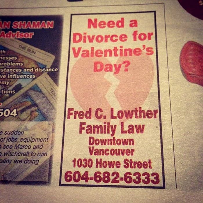 Epic Fail Divorce for Valentines Day