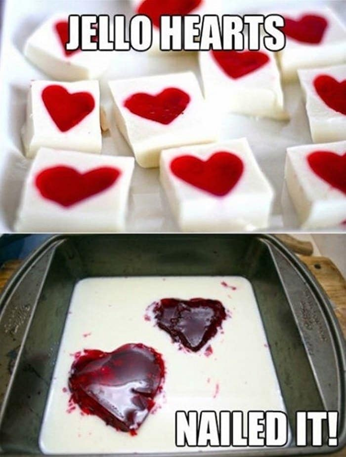 Valentines day jello hearts fail
