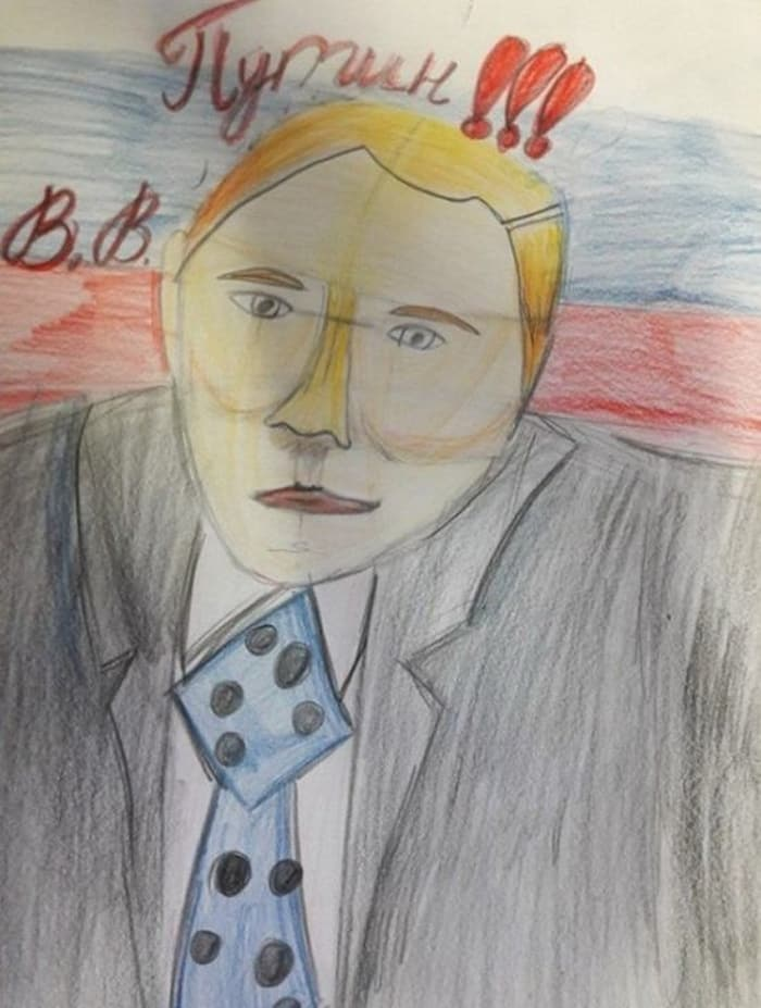 27 Funny Drawings of Putin By Russian Kids Will Make You LOL -17